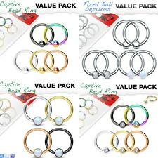 CBR Captive Bead Ring Value Pack 16g 20g Eyebrow Lip Ring Earring CZ Opal Ball