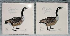 "Pair Canadian Canada Goose Screencraft USA 6"" square ceramic tile trivet FREE SH"