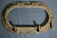 Outstanding Antique Ship'S Heavy Bronze Oblong Porthole w Hinged Arm