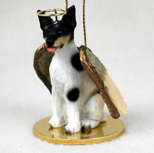 Rat Terrier Ornament Angel Figurine Hand Painted