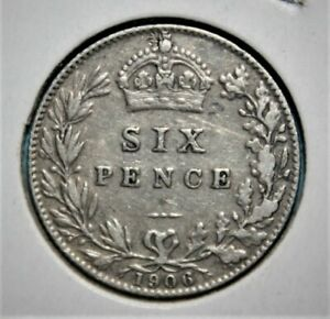 Great Britain 6 Pence 1906 Very Fine / Very Fine + Silver Coin - Edwards VII