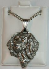 Boykin Spaniel Head Dog Harris Fine Pewter Pendant w Chain Necklace Usa Made