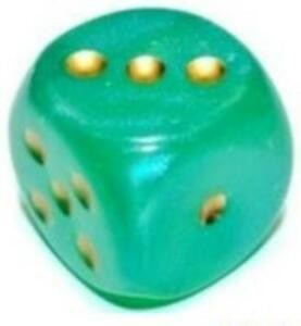 Chessex Borealis Dice 12mm d6 12mm Light Green w/Gold (36) (3rd Ed) New