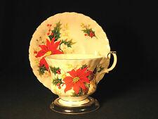 Yuletide Teacup and Saucer Royal Albert Vintage Fancy Handle Gilt Trim Christmas