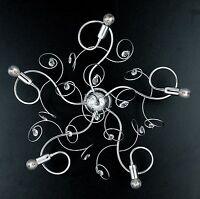Plafoniera soffitto lampada design moderno acciaio strass cromo cristalli