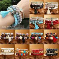 4pcs Multilayer Natural Stone Crystal Bangle Bodhi Beaded Tassel Bracelet Boho