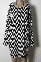 Kleid Gr. S schwarz-weiß kurz/mini Langarm Zick Zack Muster Fledermaus Kleid