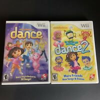 Lot of 2 Nintendo Wii Video Games: Nickelodeon Dance 1 and 2 COMPLETE