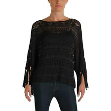LAUREN Ralph Lauren Fringe Crocheted Poncho Sweater Polo Black, XXS/XS #3646