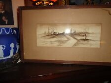 H.B. Village at Dusk; 19th century watercolor signed and framed