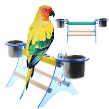 Parrot Perch Stand Play Platform Fun Wooden Toys Pet Playstand Cup For Bird Cage