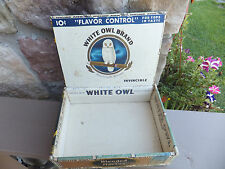Vintage White Owl Invincible Wood Cigar Box Blended With Havana - Tax Stamp