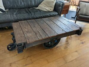 Antique Industrial Lineberry Foundry Factory Cart Coffee Table