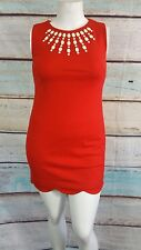 Cynthia Steffe Red Beaded Shift Dress Sz 10