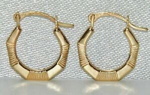 9CT GOLD CREOLE HOOP EARRINGS - SOLID 9CT GOLD