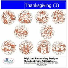 Embroidery Design CD - Thanksgiving(3) - 10 Designs - 9 Formats - Threadart