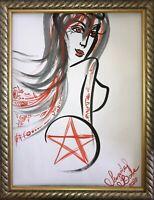 Malerei PAINTING erotic EROTIK akt nu art zeichnung pentagramm hexe witch dark 1