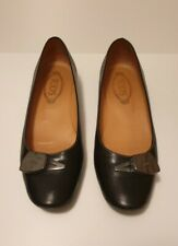 Tod's womens black Leather buckled flats pumps Size UK 6.5, Net-a-Porter
