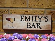 PERSONALISED OUTDOOR SIGN GARDEN BAR DRINKS AREA SIGN WINE BEER OWN NAME WORDING