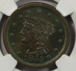 1853 Braided Hair Large Cent NGC MS64BN Beautiful green toning WOW!