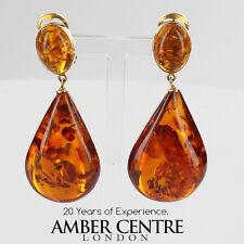 Italian Handmade German Baltic Amber Clip Earrings 9ct Gold GCL0005 RRP£850!!!