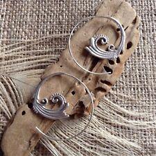 Sterling Silver Filigree Spiral Vine Hook Earrings Gypsy 30 x 35mm Boho Ethnic