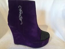 Ed Hardy Purple Velvet Pull On Platform Wedge Ankle Boot Womens 7 Studded Toe