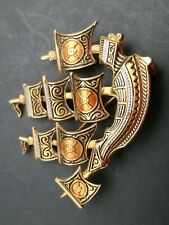 & Black Niello Clipper Costume Pin Vtg Damascene Pirate Ship Brooch Spain Red
