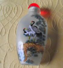Oriental Crane Fine Detailed Reverse Inside Hand Painted Snuff Bottle C