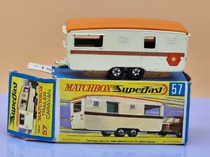 Matchbox Series Superfast No 57 Trailer Caravan Cream & Brown Made in England