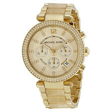 NEW MICHAEL KORS PARKER GOLD TONE,BEIGE ACRYLIC HORN BAND,CRYSTAL WATCH-MK5632