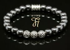 Hämatit Hematit Armband Bracelet Perlenarmband Silber Beads 8mm