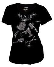 Women Plus Size Hair Stylist Bling Bling Rhinestones T-Shirt,Salon Designer S~3X