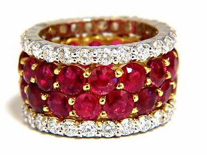 20.40ct Natural Ruby Diamonds eternity Ring 18kt natural Vivid Reds+