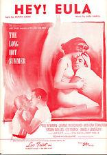 "LONG HOT SUMMER Sheet Music ""Hey! Eula"" Paul Newman Joanne Woodward Alex North"