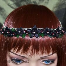 Summer Flowers Headdress in Black - Handmade Flower Jewellery Goth Gothic Dark