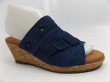 Walking Cradles Women's Aniston Cork Wedge Sandal Dark Blue Suede SZ 6.0 M 11115