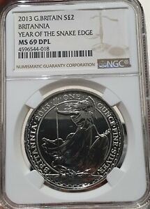 2013 Great Britain Britannia £2 Coin Round NGC MS 69 DPL Year Of The Snake Edge