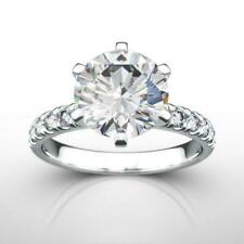 Real Side Stones 6 Prong Estate Women 3.7 Ct Diamond Ring Round 14K White Gold