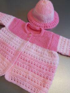 HANDMADE BABY MATINEE COAT & HAT 3-6 MONTHS PINK MIX