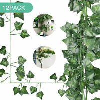 12 Pack Artificial Flowers Silk Fake Vine Hanging Plant Green Leaves 86 Ft