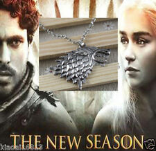 Game of Thrones Stark Lannister Targaryen Wolf Head Pendant Long Chain Necklace