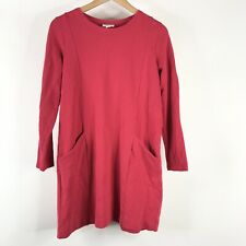 J Jill Dress Size Small Petite Womens Red Pockets Long Sleeve Casual Shift Knit