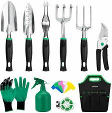 GIGALUMI Garden Tools Set -11 Piece Heavy Duty Gardening Tools Gloves Handbag
