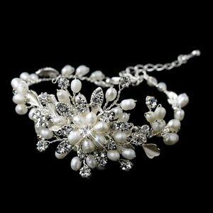 Bridal Wedding Luxury Handmade Crystal Pearl Bracelet Jewellery