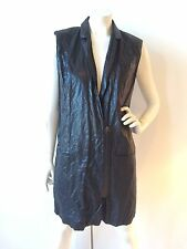OSKLEN BRAZIL COATED METALLIC CRINKLE TEXTURED WAISTCOAT BLACK SIZE US S