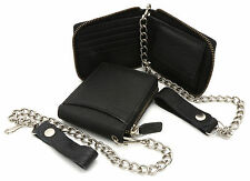 Bifold Black Genuine Leather Scale Texture Zip-Around Wallet with a Chain