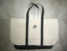 LL Bean Boat and Tote Black Trim Open Top Canvas Large Beach Carry On Bag USED