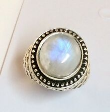 Sterling Silver Round Cabochon Rainbow Moonstone Wave Design Ring Size About 7