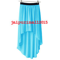 Women Lady Chiffon Hot Sexy Asym Skirts Waist Maxi High Low Hem Dress | 35 COLOR